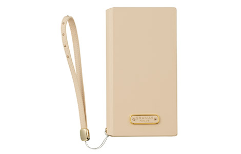 GRAMAS FEMME STZ Flap Leather Case for iPhone 8/ベージュ
