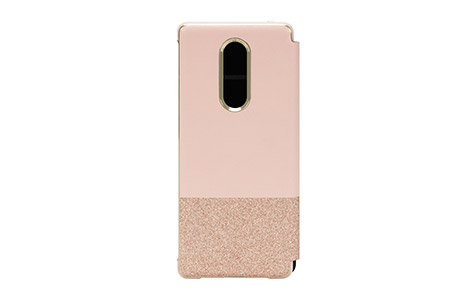Xperia 1 kate spade(R) バイカラーブックタイプケース/Glitter Rose Gold